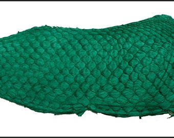 Emerald Green color, Eco-Friendly Soft Suede Exotic Tilapia Fish Skin Leather. Chrome FREE tanning. Natural Fish Leather.