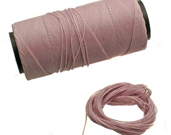 Mauve: Waxed Polyester Cord, ~1mm Macrame Cord, pack of 25ft (8.33 yards) / Hilo Encerado, Linha Encerada, Waxed Polyester Thread