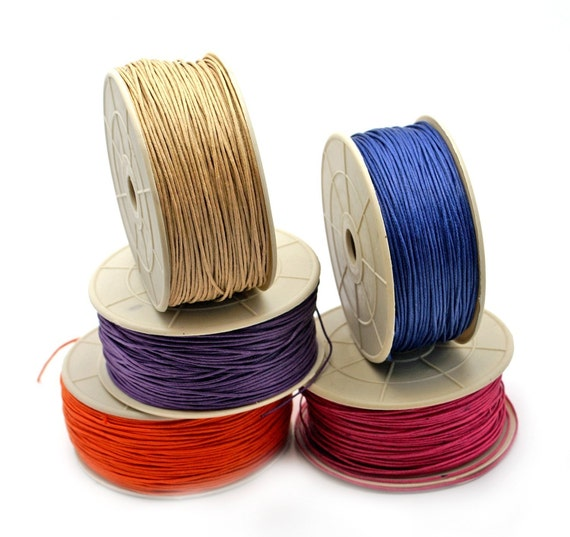 BRAIDED COTTON CORD 1mm. Package with 5 colors, 25ft each. Pick your color.