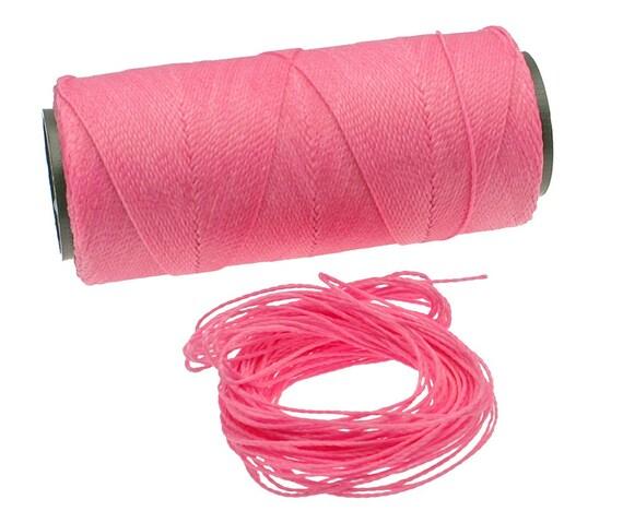 Bubblegum Pink: Waxed Polyester Cord, ~1mm Macrame Cord, pack of 25ft (8.33 yards) / Hilo Encerado, Linha Encerada, Waxed Polyester Thread