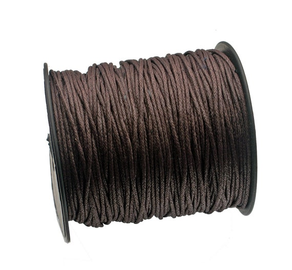 Brown color Woven Waxed Cotton cord 2mm - 25 feet/7.62 meters.