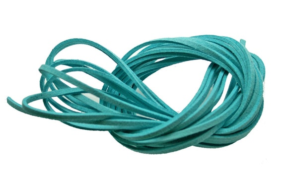RESERVED to Christina. Aqua Blue - FAUX SUEDE Leather Cord 3x1.5mm. Pack of 15 ft - 5 Yards.