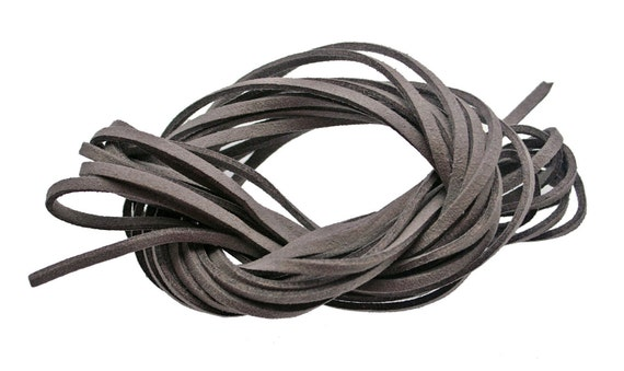 Taupe Grey - FAUX SUEDE Leather Cord 3x1.5mm. Pack of 15 ft - 5 Yards.
