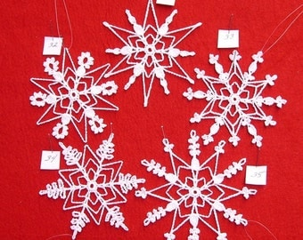 PDF Patterns for 5 Crocheted Snowflakes - set 7