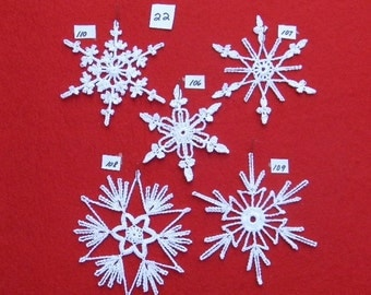 PDF Patterns for 5 Crocheted Snowflakes - set 22