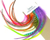 Starburst, Feather Hair Extension Pack, Long Salon Feathers with 1 Dozen (24) Micro Rings