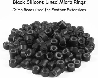 2 Dozen Silicone Lined Micro Ring Crimp Beads for Feather Hair Extensions - Black or Brown