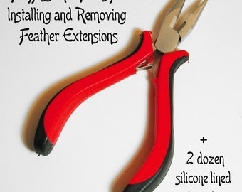 Flat Nose Pliers for Feather Hair Extensions with 2 Dozen Micro Ring Crimp Beads