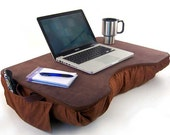 Jumbo Brown Faux Leather Lap Desk with Pockets - LapDeskLady