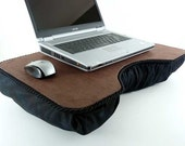 Brown Faux Leather Lap Desk with black padded bottom