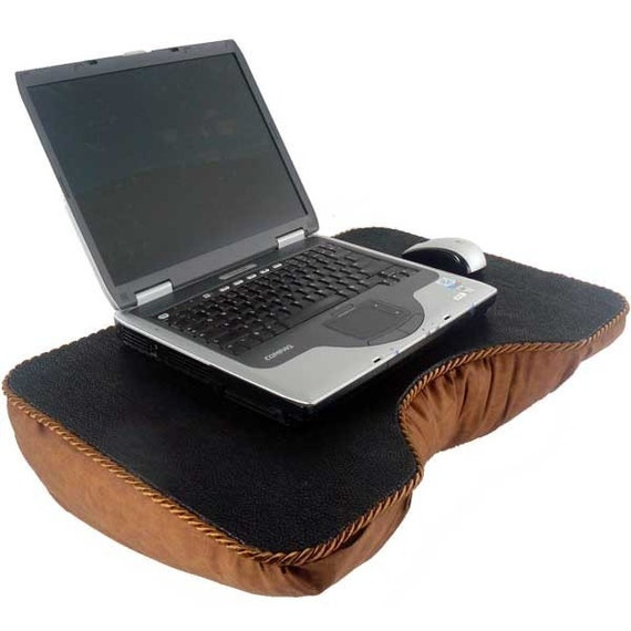 Large Black Faux Leather and Brown Lap Desk