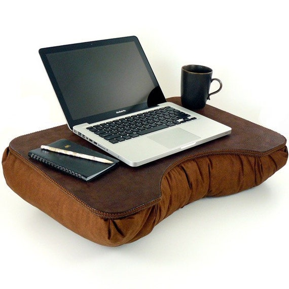 Custom Large Brown Faux Leather Lap Desk For Lance