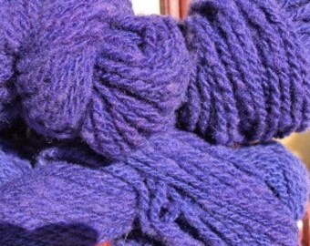 SALE Hand dyed, Handspun Worsted Weight Wool Yarn, Purple