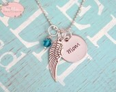 Personalized Hand Stamped Memorial Necklace with Angel Wing Charm and Birthstone