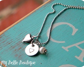 Personalized Hand Stamped Disc with Silver Puffy Heart and Ivory Swarovski Pearl Charm Necklace