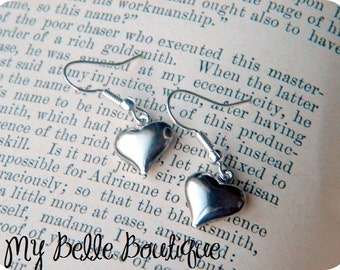 Silver Plated Dainty Heart Earrings READY TO SHIP