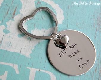 Hand Stamped Key Chain with Heart Charm -- All You Need Is Love - Beatles Lyrics