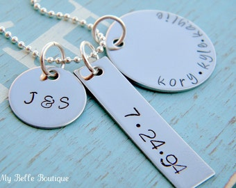 Personalized Hand Stamped Family Necklace with Initials, Date and Family Names - Husband, Wife and Kids