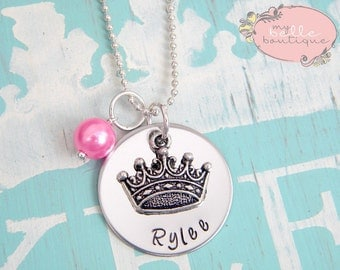 Personalized Hand Stamped  Princess Tiara Necklace with Bubblegum Pink Pearl Charm