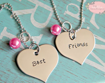 BEST FRIENDS Matching Necklaces with Bubble Gum Pink Pearls Hand Stamped Personalized