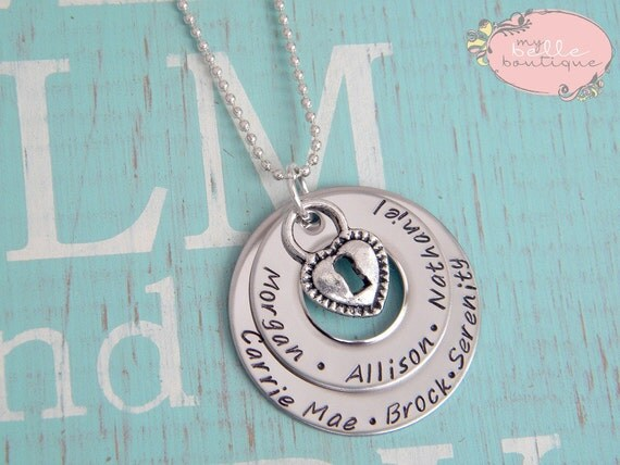 Personalized Hand Stamped Stacked Washer Family Necklace with Heart Lock Charm