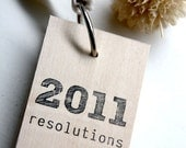 3 in. x 2 in. Wood Mini Notepad - New Years Resolutions