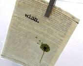 "Linocut print / Screenprint - 5"" x 7"" Wish Dandelion Fabric Print - Green"