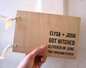 "Got Hitched - Wood Guest book / Album / Notebook (9"" x 6"") - Custom Names and Date"
