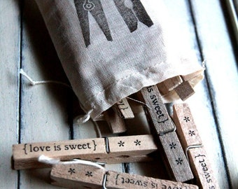 Clothespins - love is sweet (Set of 12)