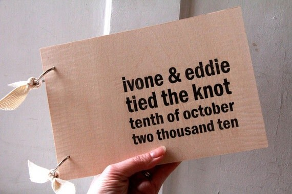 """Wood Guest book / Album / Notebook (9"""" x 6"""") - Tied the knot - Custom Names and Date"""