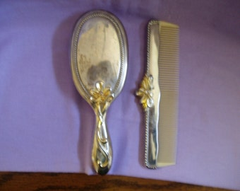 Vintage Beauties... celluloid comb and brush set ,silver, silver plated gold.colored accents