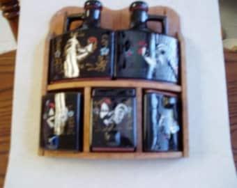 Black Enamel Cruet Set..redware free shipping to USA