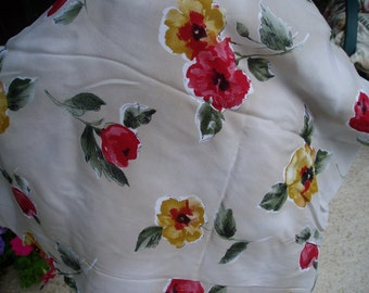 Beautiful Vintage  Fabric with Colorful Flowers