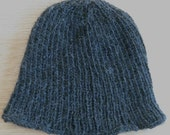 Men's plain, dark gray knit cap - organic yarn preferred