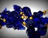 3cm Antique Glass Drop Beads - Royal Blue 10 count