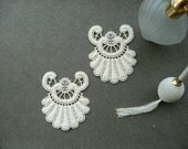 Pair of antique 1940's french guipure appliques