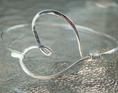 Custom listing for kenzhannon Sterling Silver heart bangle bracelet