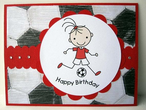 birthday card for girl soccer theme, Birthday card