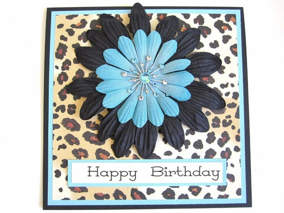 Leopard print Happy Birthday card for woman – Leopard Print Birthday Card