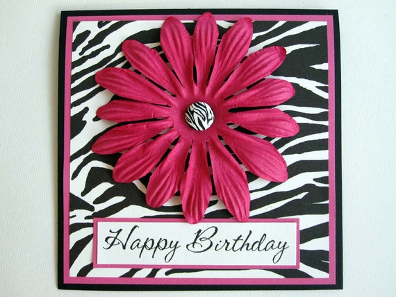 Print Happy Birthday card can be PERSONALIZED – Zebra Print Birthday Cards