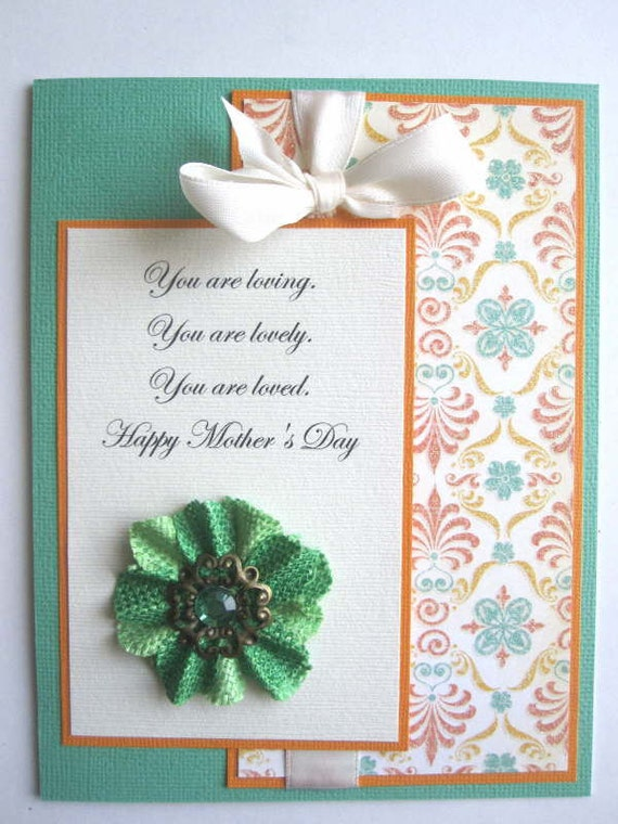 Handmade Mother's Day card coral and green