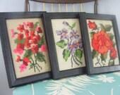 Vintage Set Of Three Botanical Cross Stitches