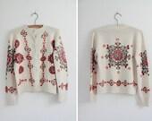 Handpainted Vintage 1960s Cardigan