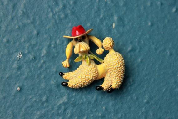 Vintage Enamel Poodle with Cowboy hat Brooch