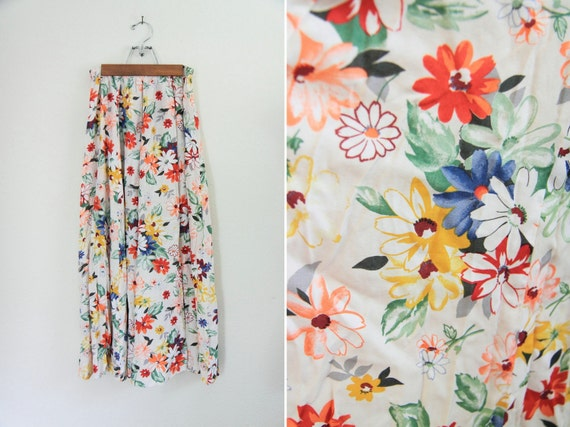 Vintage Full Circle Midi-Skirt with Rainbow Floral Print