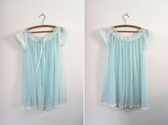 Vintage 1960s Pastel Blue Chiffon Cape Nightie