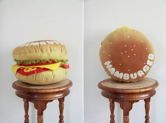 Vintage 1970s Hamburger Throw Pillow