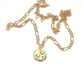 14KT Gold Plated Figaro Chain With Brass Love Pendant