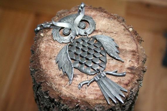 vintage 1960s 1970s bohemian silver mid century modern retro OWL pendant festival fair necklace gift