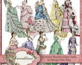 Victorian Beauties Paper Dolls PNG Files Collage Sheet